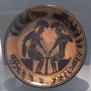 Ancient Greek hoplites playing a board game, ca. 520 BC, similar to image used as basis of MSO logo