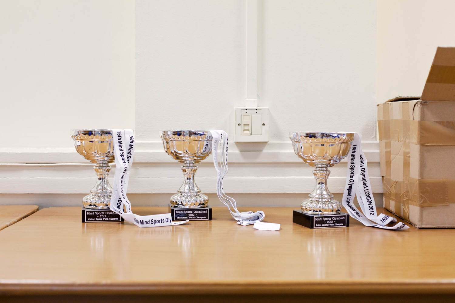 Trophies for the 2012 Mind Sports Olympiad